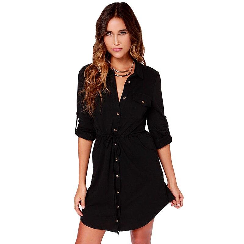 Aliexpress.com : Buy Black shirt dress long sleeve button turn ...