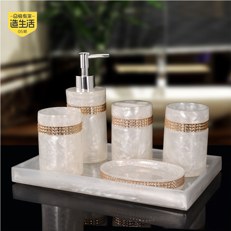 2017 Limited Sale Banheiro Toothbrush Holder European High-grade Bathroom Suite Five Piece Tray Wash Gargle Cup Wedding Gift