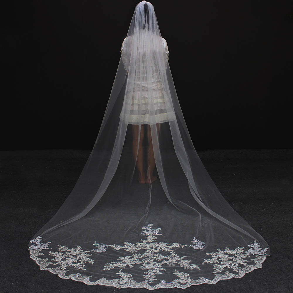 Bridal-Veil Wedding Welon Comb Bride-Accessories Lace Tulle Appliques Ivory White Long