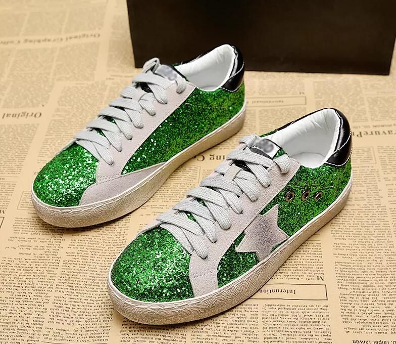 GRAM EPOS 2018 Spring Autumn Women Trainers New Glitter Leather Do Old  Dirty Shoes Mixed Color Woman Sequins Star Fleeces Shoes-in Women s Flats  from Shoes ... 38b8269228f1