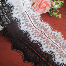 3Y/lot Black Eyelash Lace Fabric DIY Decorative High Quality Soft Nylon Eyelash Lace Trim Clothing Sewing Applique Fabric 10cm eyelash lace applique cami top