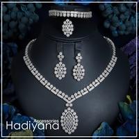 Hadiyana Wedding Anniversary Party 4pcs Set New Luxury Jewelry High Quality Necklace Earring Bracelet Ring Cubic Zirconia CN054