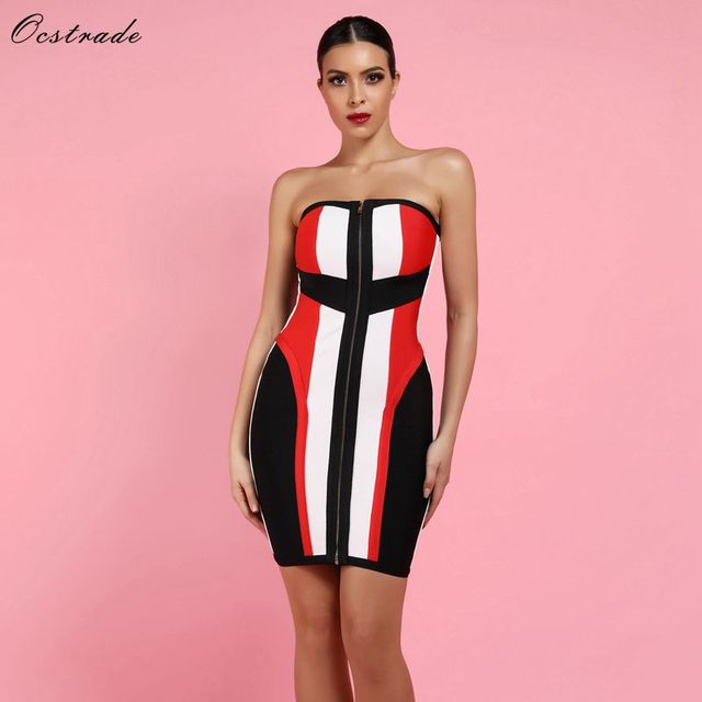 Ocstrade High Quality Women Bandage Dress New Year 2019 Summer Black,White and Red Sexy Strapless Bandage Dress Bodycon Dresses