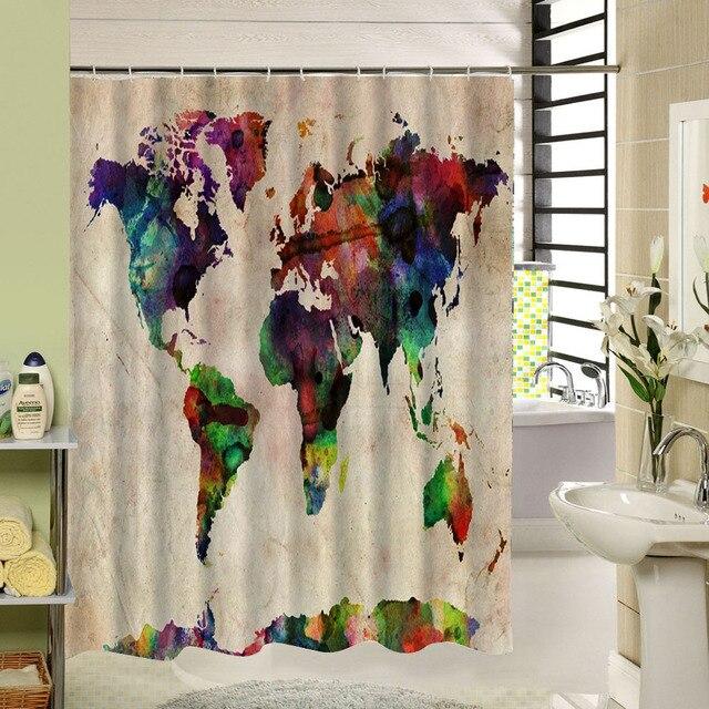 Art Conception Le Coloré Carte du Monde De Douche De Bain rideau