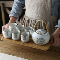Japanese style pottery large capacity hand painted teapot set Kungfu tea ceramic afternoon tea pot cup bamboo tray