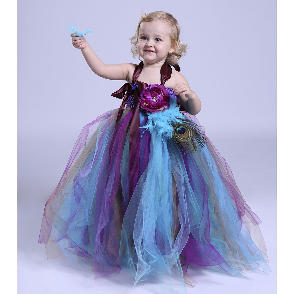 Baby Girl Kids Peacock Feather Dress Clothes Flower Girl Tutu Dress Christmas Carnival Peacock Gauze Tutu Dress with Headband beibehang chinese peacock feather flower