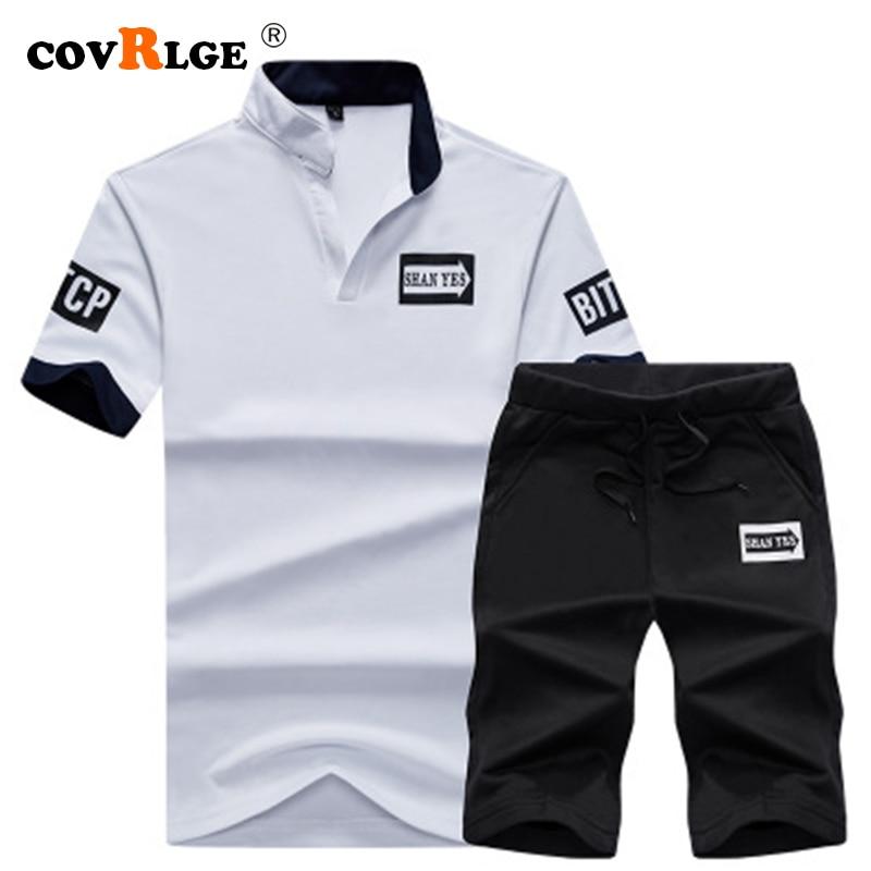 Covrlge Men Sets 2019 Summer Men Fashion Two Pieces Sets Polo Shirts+Shorts Suit Men Tees Fashion High Quality Tshirt MSX003
