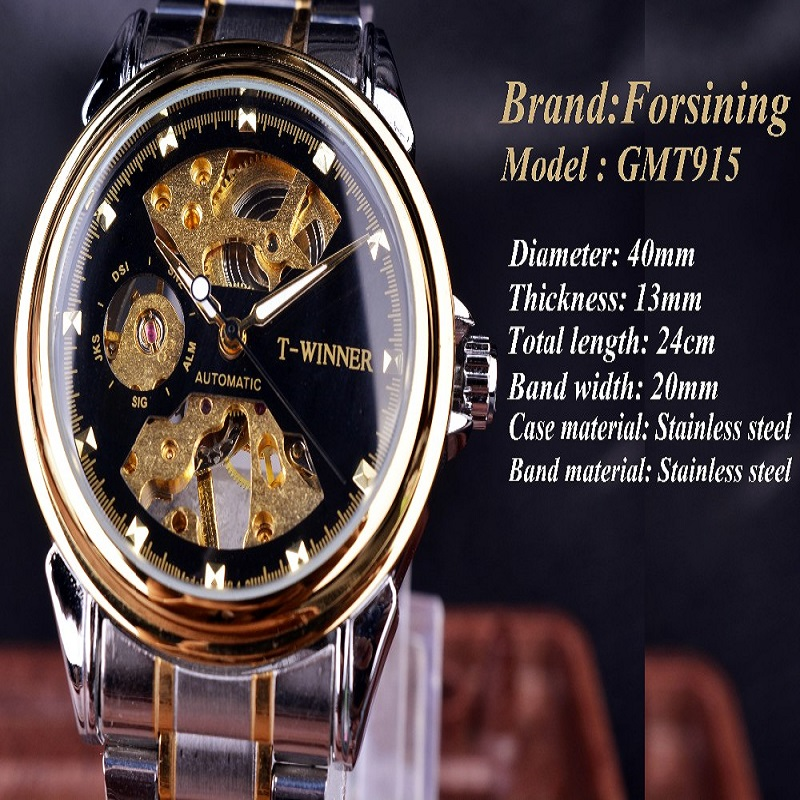 T WINNER Design Men Watches Top Brand Luxury Watch Skeleton Fashion Sport Casual Automatic Mechanical Wristwatch Black Clock in Mechanical Watches from Watches