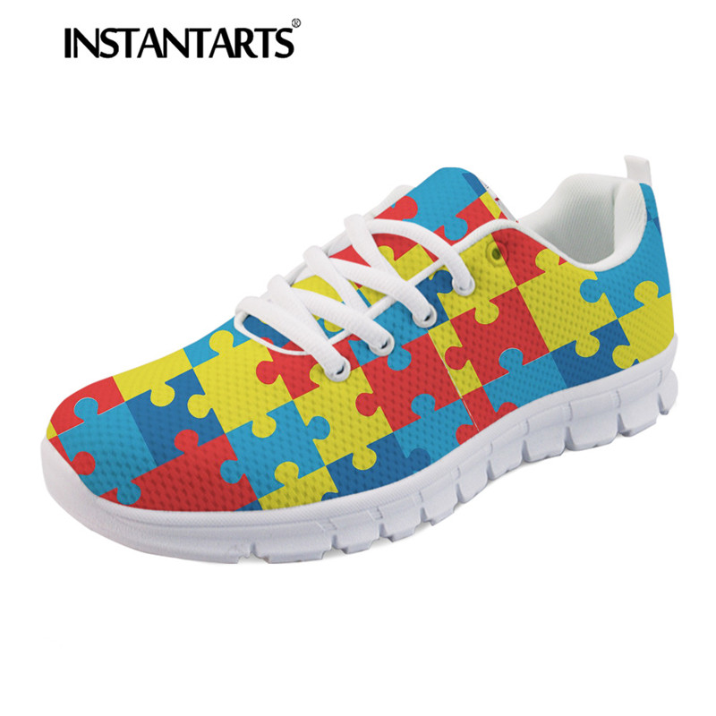 Shoes Friendly Forudesigns Women Light Lace-up Canvas Shoes Autism Awareness Design Casual Sneakers For Ladies Girls Vulcanize Shoes Zapatos Women's Shoes