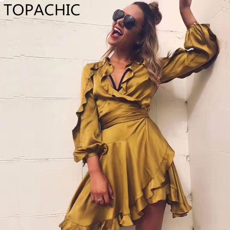 orange Imitation Asymétrique Luxe Fioritures Soie yellow Ceinture Auto bleu Noir Mini À Détail De Nude Wrap Manches Mode Nouer Robe Suédé Taille Lanterne Femme 2017 SF8qAA