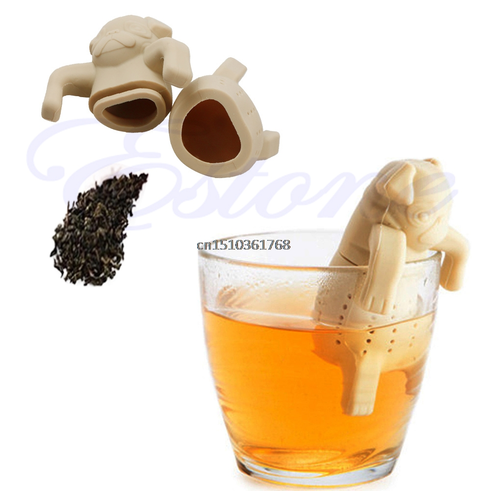 Silicone Coffee Tea Infuser Cute Animal Pug Teapot Spice Herbal Strainer Filter #Y05# #C05# 1pc teapot pot shape stainless steel leaf tea infuser filter strainer ball spoon strainer infuser tea spoon shaped teapot