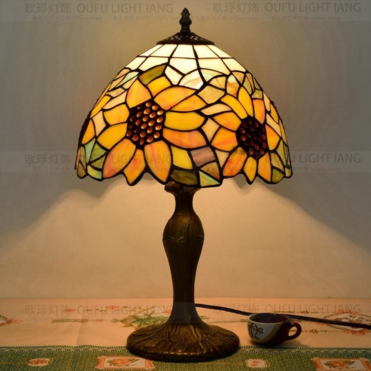 12 дюймов подсолнухи Тиффани настольные лампы страна Стиль пятнистости Стекло лампы для Спальня ночники E27 110-240 В