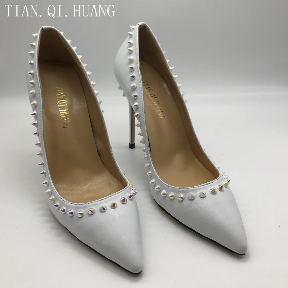 Spring and Autumn High Heel Rivet Styles Women Pumps Genuine Leather Fashion Casual Wedding Shoes Woman TIAN.QI.HUANG 2