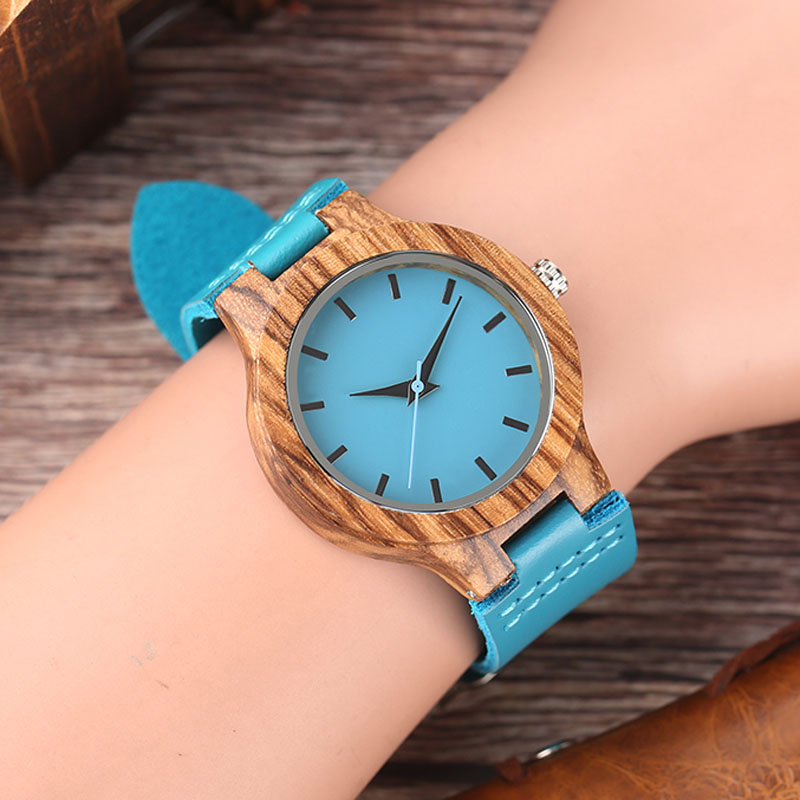 Unique Blue Color Wood Watch Women Wooden Quartz Men's Watches Genuine Leather Band Couples Lover's Timepieces Clock Gifts 2019(China)