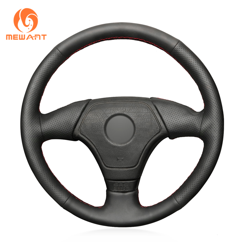 MEWANT Hand stitched Comfortable Soft Durable Black Genuine leather Car Steering Wheel Cover for BMW E36