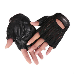 Image 4 - Gants en cuir véritable pour hommes et femmes, demi doigts, accessoires tricotés à la main, de conduite, de sport de plein air, A088