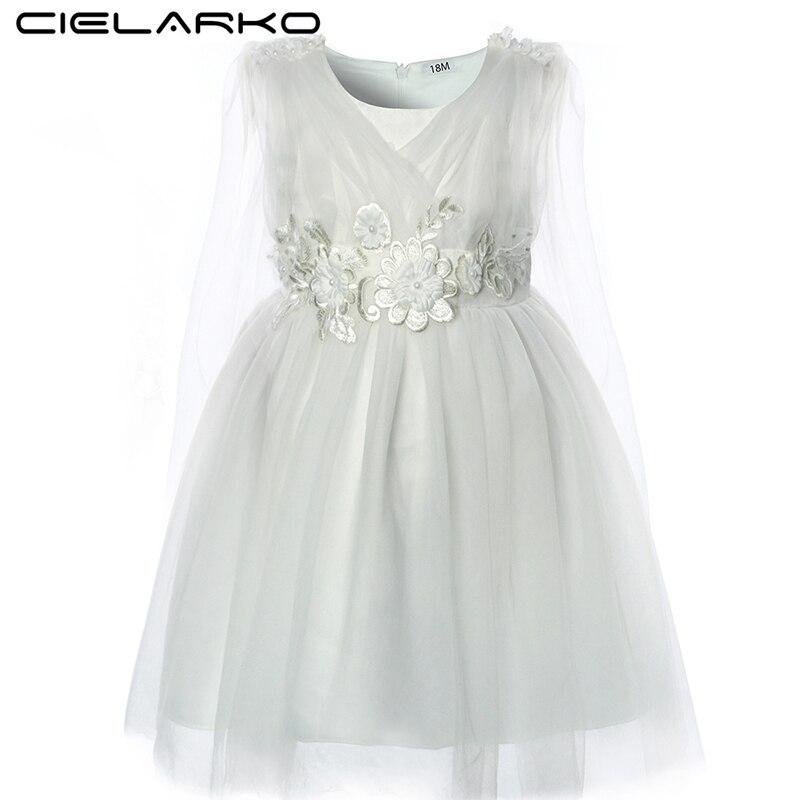 Cielarko Baby Girls Dress Sleeveless Christening White Toddler Dresses Bow Beading Formal Ball Gown