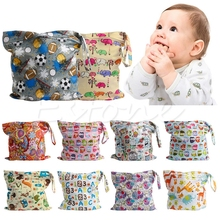 Cute Baby Nappy Reusable Washable Wet Dry Cloth Zipper Waterproof Diaper Bag New