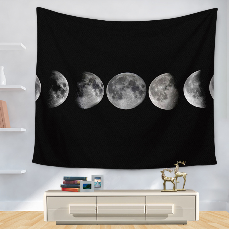150cmx130cm Eclipse Tapestry Moon Night Plays Beach Blanket Beach Towel Travel Picnic Quick Dry Beach Towel Tapestry Wall