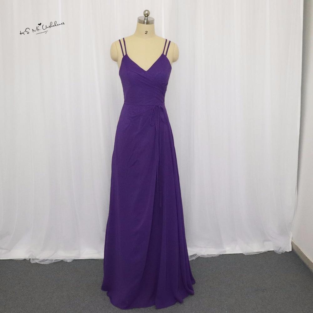 Multa Vestidos Largos De Dama De Honor Púrpura Barato Ideas ...