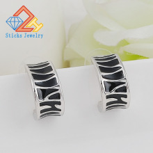 (1pair / lot) 100% Zinc Alloy Drop C-Shaped Black Lady Stud Earrings