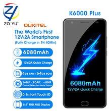 OUKITEL K6000 Plus Smartphone 4G Android 6.0 MobilePhone 12V/2A MTK6750T 16.0MP 4G+64G 6080mAh Fingerprint ID 5.5HD Cell phone