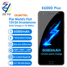 OUKITEL K6000 Plus Smartphone 4G Android 6.0 Téléphone Mobile 12 V/2A MTK6750T 16.0MP 4G + 64G 6080 mAh D'empreintes Digitales ID 5.5HD Cellulaire téléphone