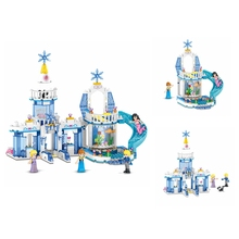 Creative New hot selling 344 pcs  Snow Princess Elsa Ice Castle Anna 2 in 1 Legoings Blocks Childrens Toys Gifts