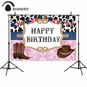 Allenjoy photographic background Cowboy style hat boots floral happy birthday photocall backdrops photography photo photophone image