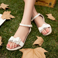 Hot sales women's shoes fashion Butterfly-knot Buckle Strap flats sandals Cover Heel Solid summer shoes Soft Leather sandals