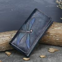 Genuine Leather Women Wallet Handmade Long Purse Vintage Solid Cowhide Multiple Cards Holder Clutch Fashion Standard