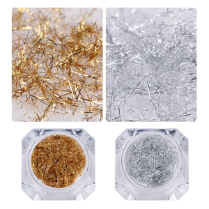 Image 2 - NASCIDO BONITA Prego De Prata Ouro Tira Espelho Flakies 3D Decoração de Unhas de Metal Fio de Linha Gel UV Da Arte Do Prego Acessórios de Decoração
