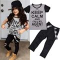 2016 Fashion Baby Girls Clothing Set Summer Kids Clothes Short Sleeve T-Shirt Top + Hole Pant Leggings 2PCS Outfit Clothing Set