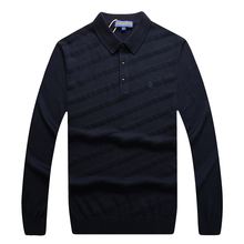 Sweater men s 2016 new style autumn turned collared business casual comfortable excellent fabric embroidery wool