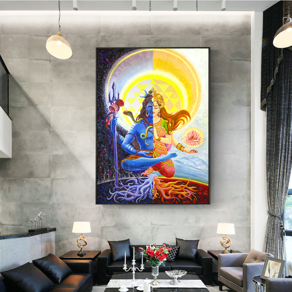 Lord Shiva Wall Posters And Prints, Hindu Gods Canvas Paintings On The Wall, Unframed Indian God Pictures For Living Room Wall