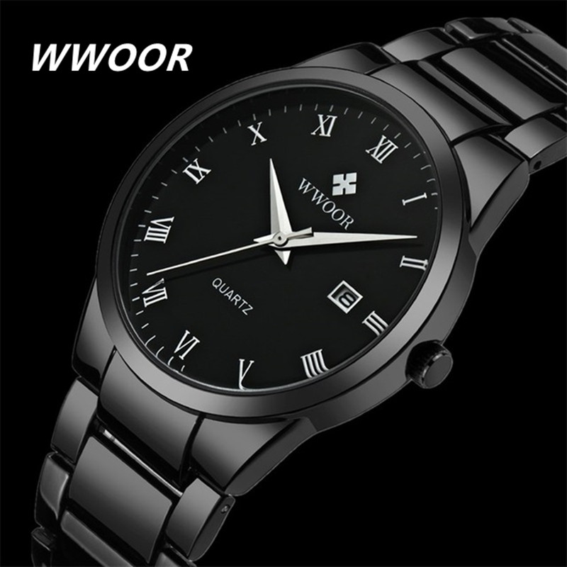 Brand WWOOR Watch Men Waterproof Luxury Casual Black Steel Men's Quartz Analog Watches Men Date Male Clock relogio masculino wwoor waterproof ultra thin date clock male stainess steel strap casual quartz watch men wrist sport watch 3 colors