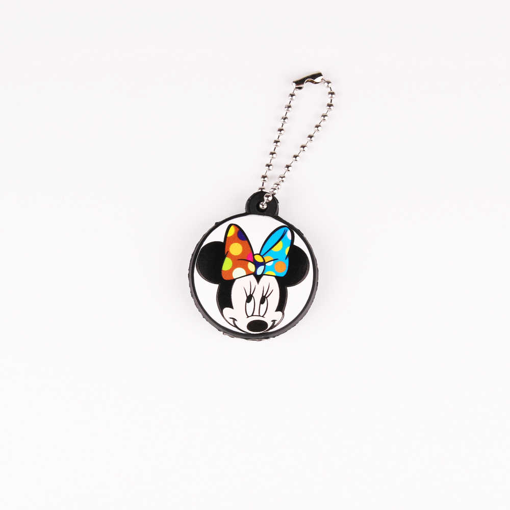 การ์ตูนน่ารัก Mickey ฝาครอบหมวกป้องกันซิลิโคน Minnie พวงกุญแจผู้หญิงนกฮูก Stitch Bear Hello Kitty พวงกุญแจ Porte clef