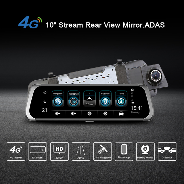 Junsun 4G ADAS Car DVR Camera 10″Android Stream Media Rear View Mirror FHD 1080P WiFi GPS Dash Cam Registrar Video Recorder DVRs