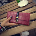 Women Trifold Soft PU Leather Lattice Clutch Wallet Famous Brand Long Purse High Quality Card Handbag Bag