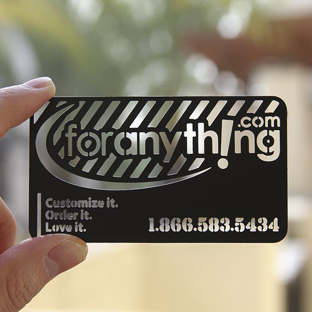 Personalized bar code cutout quality personalized stainless steel business metal card