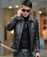 korean men's plus size 5XL Winter keep warm white duck down leather jacket coat with lamb wool collar men down motorcycle coat