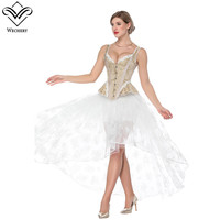 Wechery Womens Corset Skirt Steampunk Victorian Women's Sexy Lace Floral Cut Out Skirts & Blue Beige Slimming Corsets Lace Up