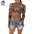 YEJIA FASHION Sexy Elegant Women Totem Printed Short Jumpsuits Romper Long Sleeve Slim Perspective Bodysuit Overalls Playsuit