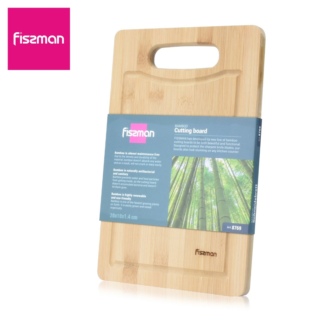 FISSMAN Rectangle Bamboo Cutting Board with Polish Handle Eco-friendly Chopping Block(China)
