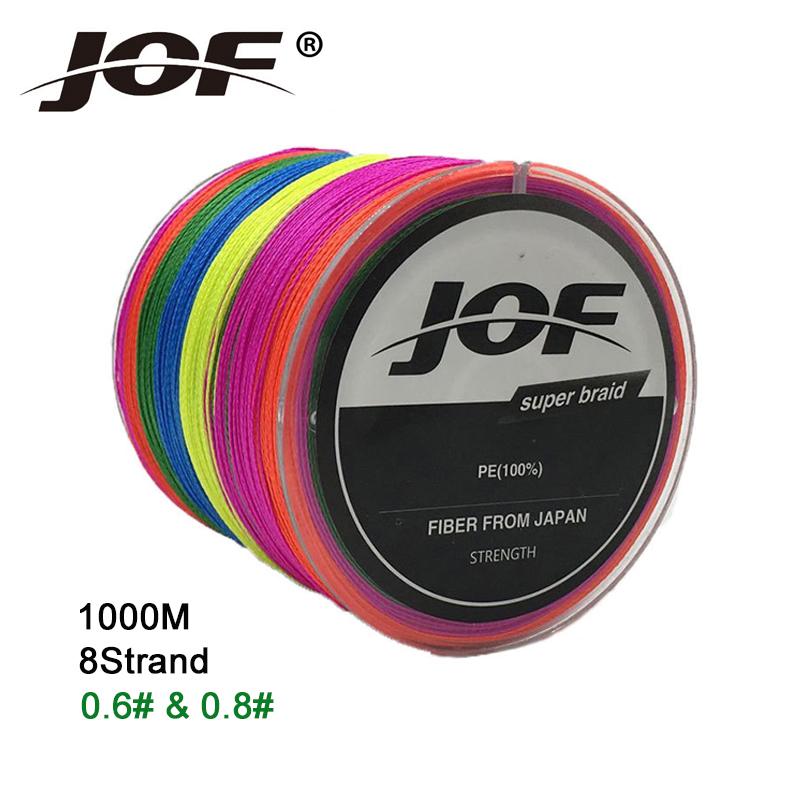 0.6# 0.8# JOF 1000m 8 Strands Braided Fishing Line 2 Colors Multifilament 100% PE Line Strong 13-78LB Carp Fishing Wire #C5
