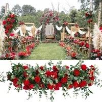 4M x 37cm hot red artificial flower strip Wedding Pavillion Flowers strips flower backdrop Wedding Decoration