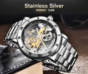 Image 4 - IK אוטומטי מכאני שעונים גברים מותג יוקרה עלה זהב מקרה אמיתי עור שלד שקוף חלול שעון 50m עמיד למים