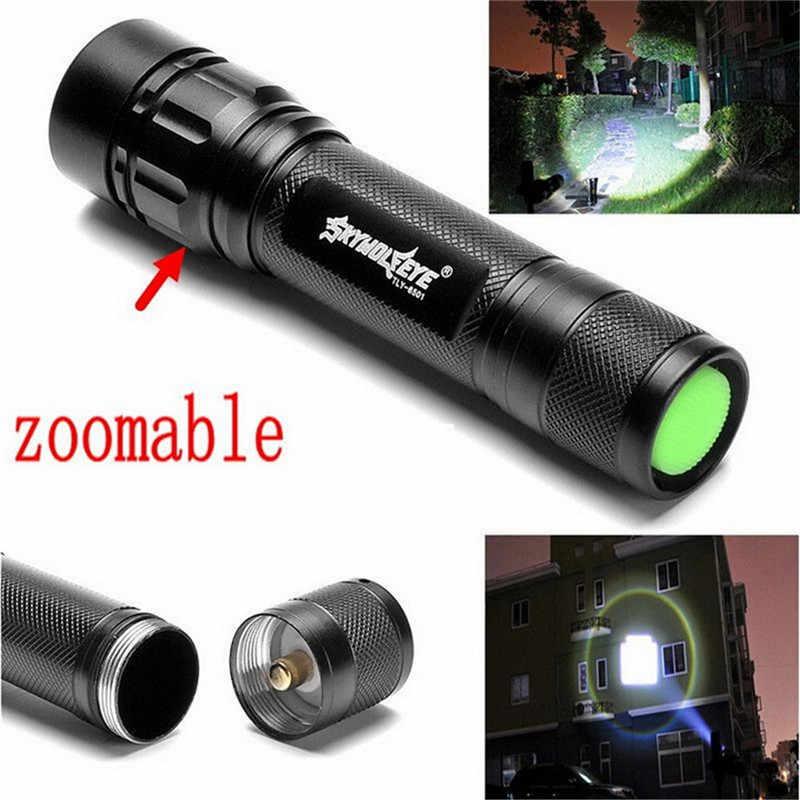 Noir XM-L T6 3000 Lumens 3 Modes torche LED Zoomable lampe de poche LED en alliage d'aluminium torche lumière pour batterie Rechargeable 18650