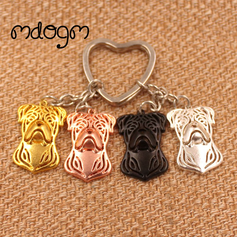 2018 American Bulldog Dog Animal Gold Silver Plated Metal Pendant Keychain For Bag Car Women Men Girls Boys Love Jewelry K020