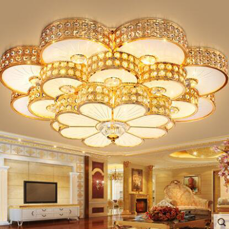 Golden LED circular crystal lamp luxury bedroom living room ceiling lighting warm modern study lamps led lighting fixture led traditional crystal lamp golden circular living room lamp lighting luxury bedroom lamp led patch ceiling lights lmy 080